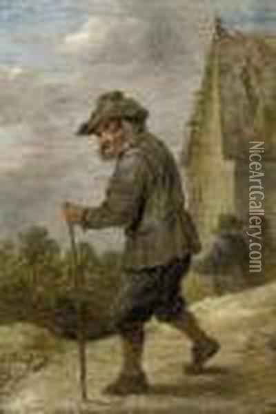 A Peasant In A Village Street Oil Painting - David The Younger Teniers