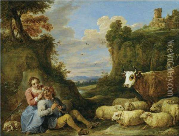 An Amorous Peasant Couple With Their Flock In A Landscape Oil Painting - David The Younger Teniers