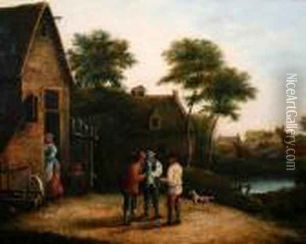 Figures Before A Village Inn Oil Painting - David The Younger Teniers
