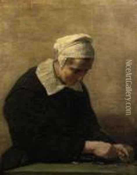 An Old Woman Counting Coins: An Allegory Of Avarice Oil Painting - David The Younger Teniers