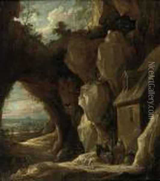 A Rocky Landscape With The Hermit Saints Paul And Anthony Oil Painting - David The Younger Teniers