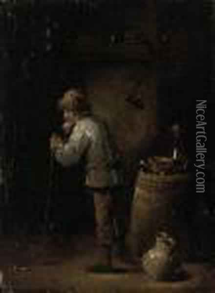 An Old Man Leaning On A Walking Stick In An Interior Oil Painting - David The Younger Teniers