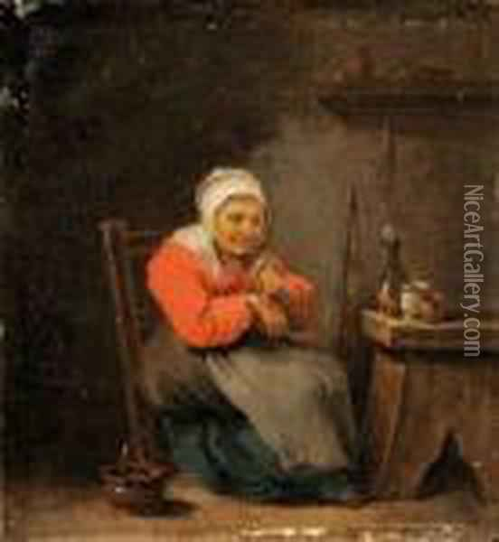 Vieille Femme Se Soignant Oil Painting - David The Younger Teniers