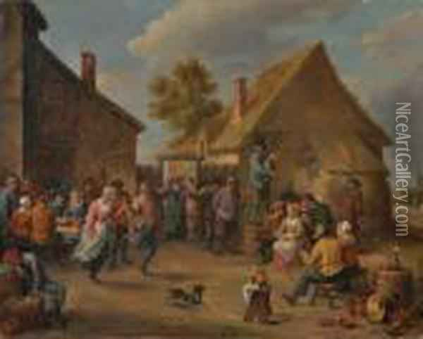 Village Celebration Oil Painting - David The Younger Teniers