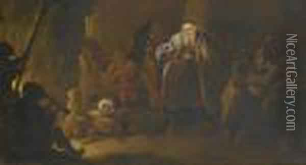 The Wealthy Merchant In The Netherworld. Oil Painting - David The Younger Teniers