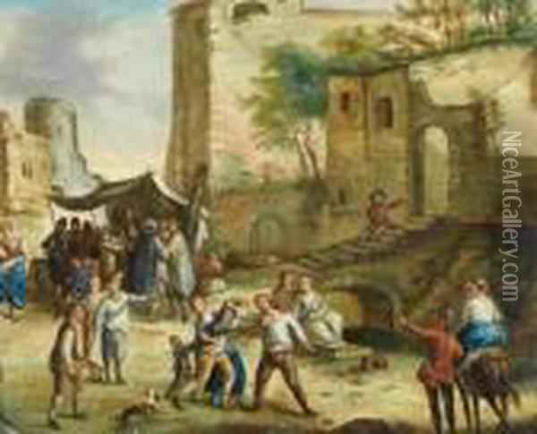 A Street Brawl Oil Painting - David The Younger Teniers