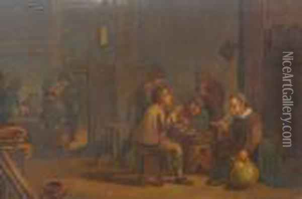 Tavern Interior With Figures Oil Painting - David The Younger Teniers