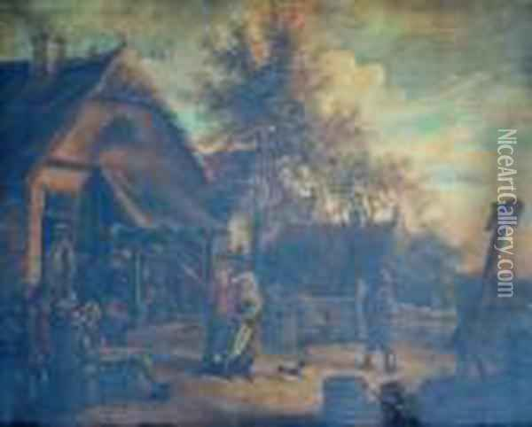 Peasants Carousing Outside A Tavern Oil Painting - David The Younger Teniers