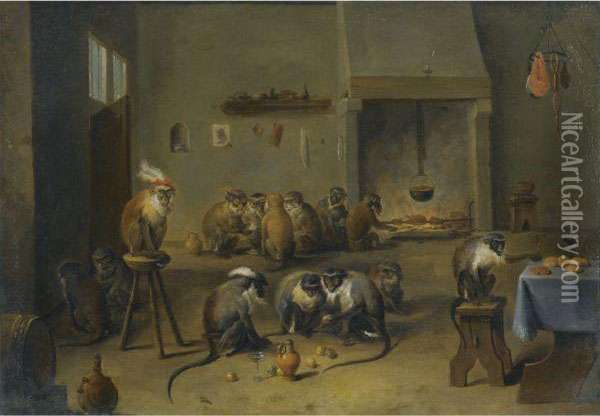 Monkeys In A Kitchen Oil Painting - David The Younger Teniers