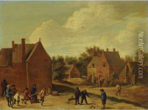 A Village Street With Peasants Playing Bowls Oil Painting - David The Younger Teniers