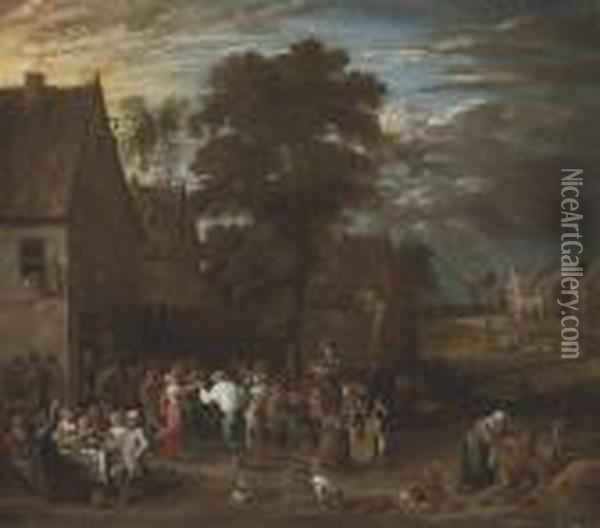 A Wedding Party In A Village Oil Painting - David The Younger Teniers