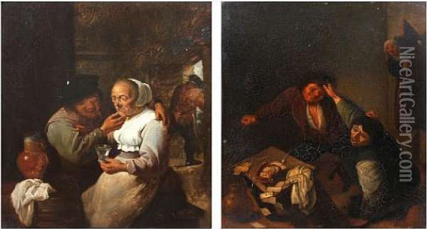 Couple Seated In An Inn, Together With Anotherof An Upset Card Game Oil Painting - David The Younger Teniers