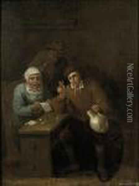 Two Men And A Women Drinking And Playing A Game At A Table In Aninn Oil Painting - David The Younger Teniers