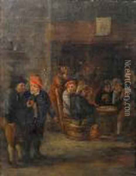 A Tavern Interior With Peasants Drinking Andplaying At Cards Oil Painting - David The Younger Teniers