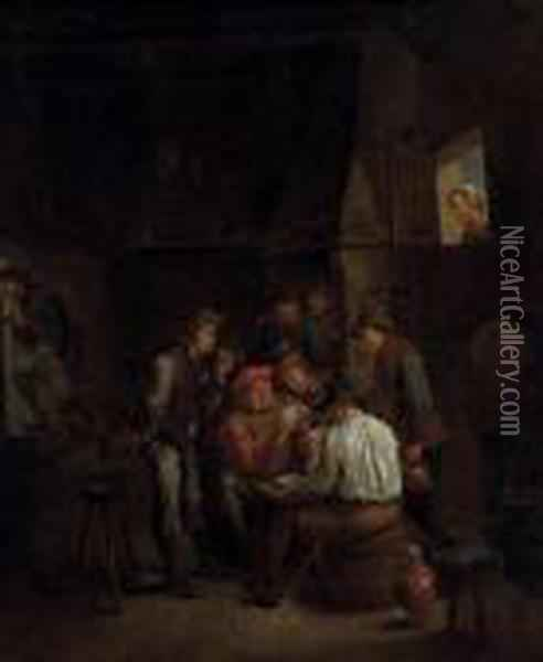 Boors Playing Cards In A Tavern Oil Painting - David The Younger Teniers