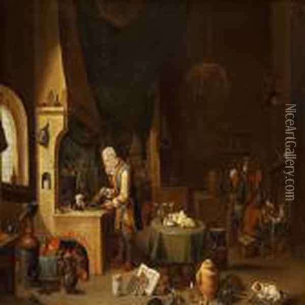 In The Alchemist's Workshop Oil Painting - David The Younger Teniers