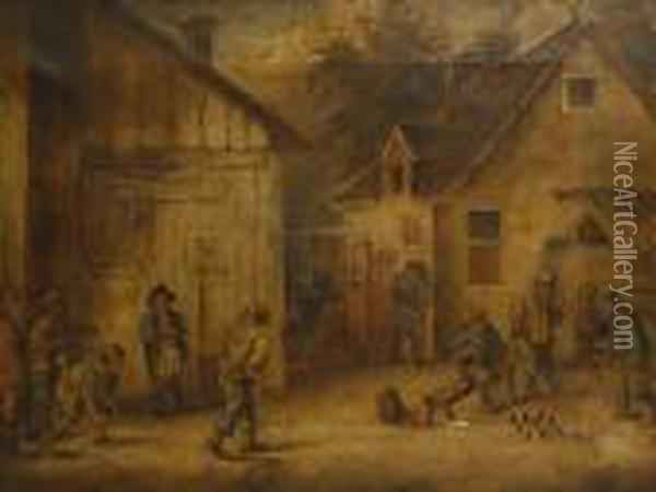 Figures Playing Boules Outside A Tavern Oil Painting - David The Younger Teniers