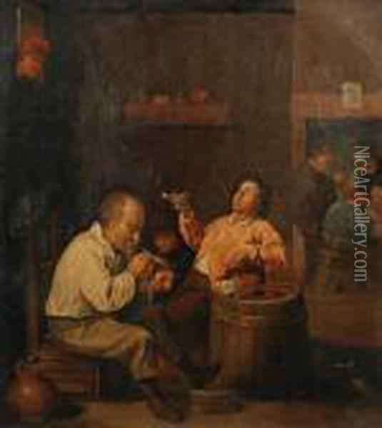 Tavern Scene Oil Painting - David The Younger Teniers