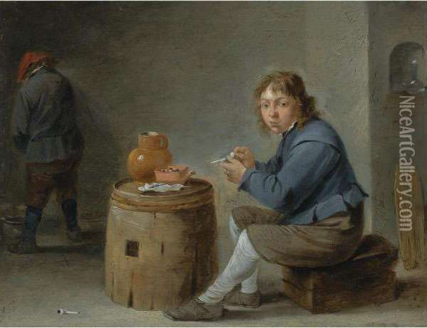 A Boy Smoking Oil Painting - David The Younger Teniers