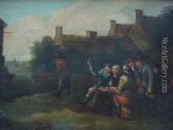 Revellers Outside An Inn Oil Painting - David The Younger Teniers