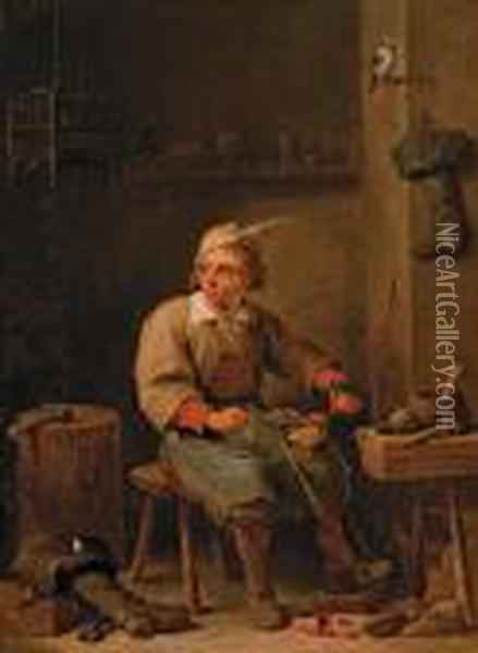 Le Savetier Oil Painting - David The Younger Teniers