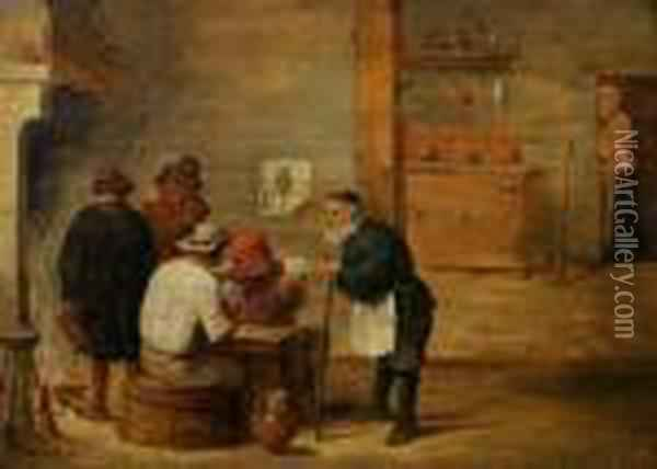Men Gambling In An Interior Oil Painting - David The Younger Teniers