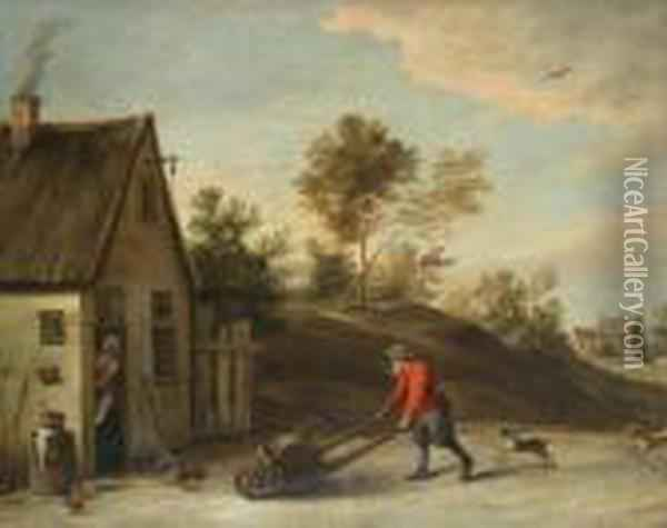 Brewer Near The Tavern Oil Painting - David The Younger Teniers