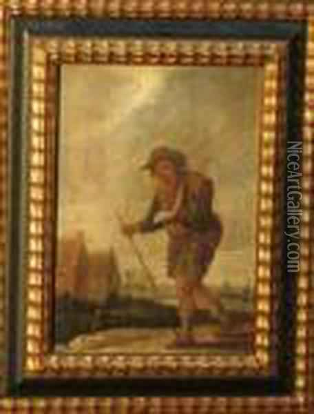 Beggar In Landscape Oil Painting - David The Younger Teniers