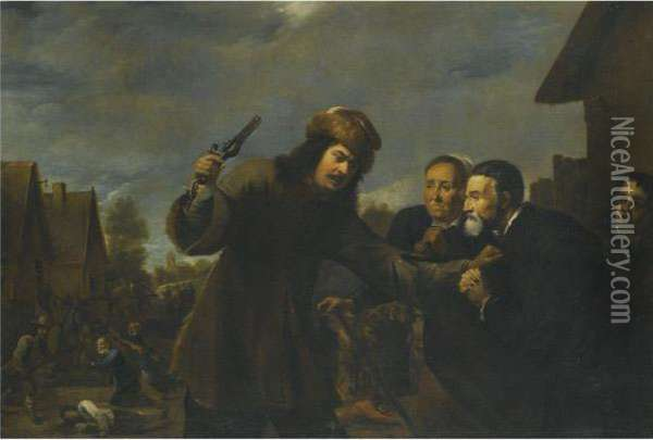 A Landscape With A Man Assaulting A Couple Oil Painting - David The Younger Teniers
