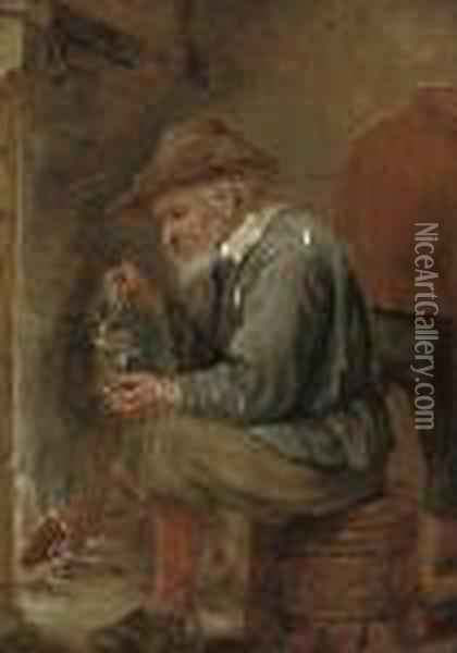 An Old Man Pouring A Glass Of Wine Oil Painting - David The Younger Teniers