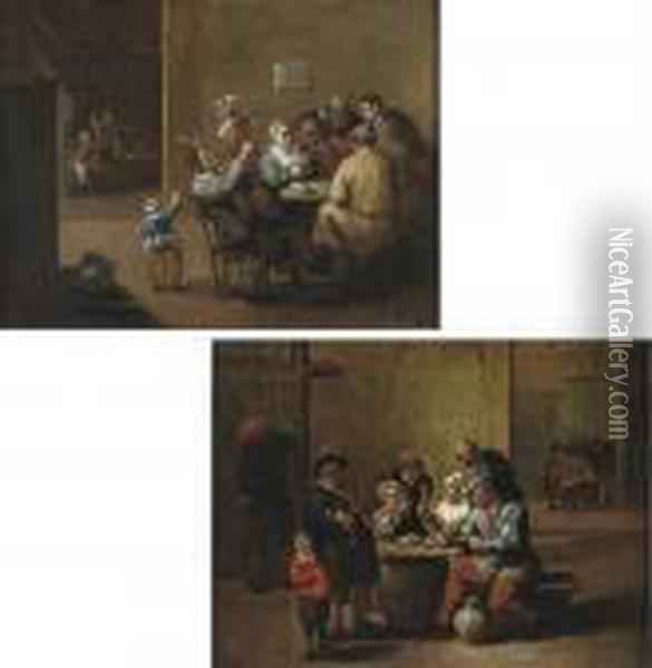 Boors Smoking, Drinking And  Singing In An Interior; And Boors Drinking And Playing Cards In An  Interior Oil Painting - David The Younger Teniers