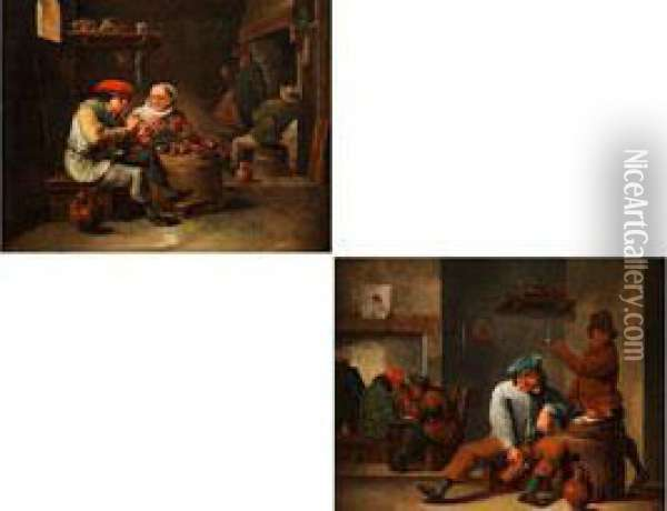 Wirtshaus-szenerien Oil Painting - David The Younger Teniers
