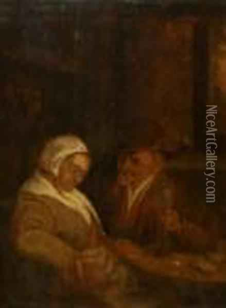 Lady And Gent In Tavern Interior Oil Painting - David The Younger Teniers