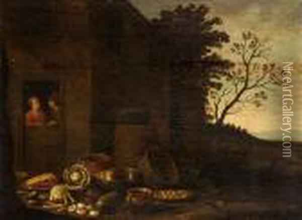 Scena Di Mercato Oil Painting - David The Younger Teniers