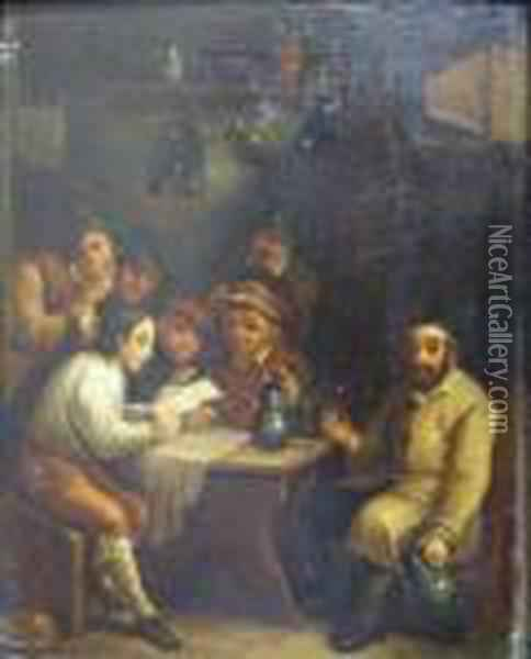 Buveurs Oil Painting - David The Younger Teniers