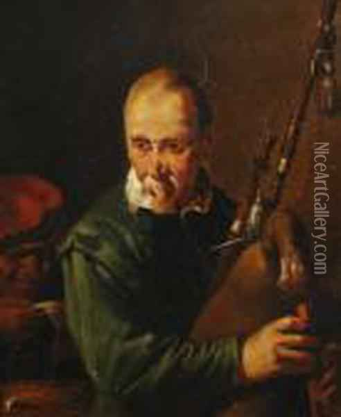 The Bagpipe-player Oil Painting - David The Younger Teniers