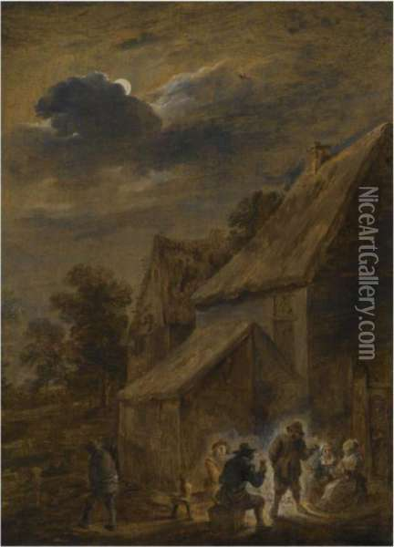 A Nightscene With Peasants Making Merry Outside An Inn Oil Painting - David The Younger Teniers