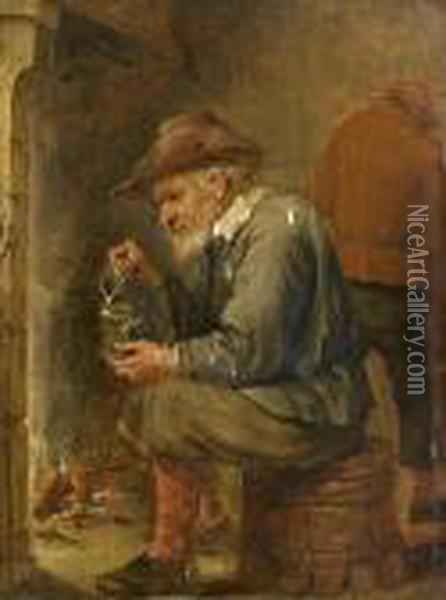 A Toper Holding A Jug And A Glass Before A Fire Oil Painting - David The Younger Teniers