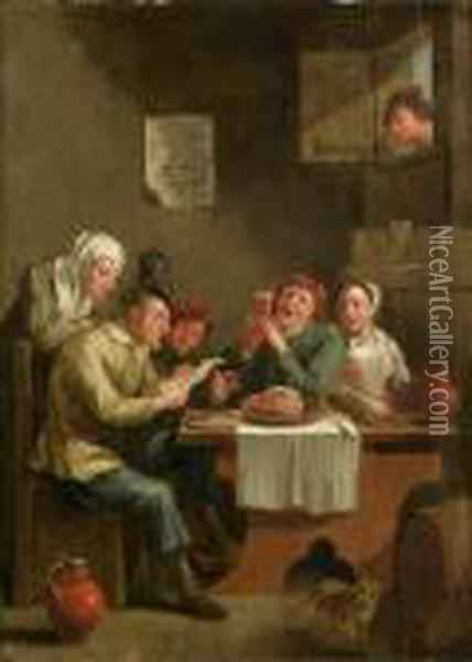 A Tavern Interior Oil Painting - David The Younger Teniers