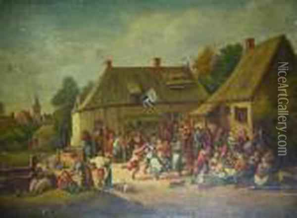 Feast Day With Villagers Oil Painting - David The Younger Teniers