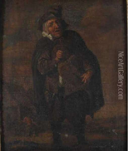 Joueur De Vielle Oil Painting - David The Younger Teniers