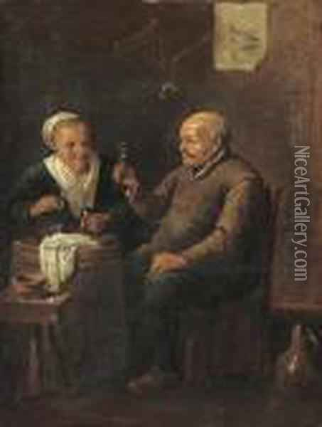 Peasants Drinking In An Interior Oil Painting - David The Younger Teniers