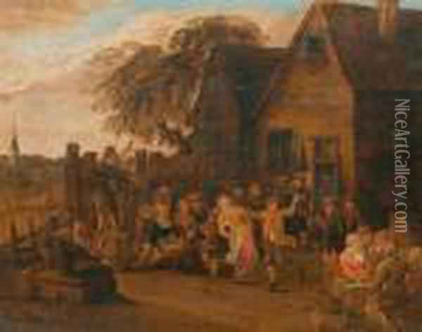 Tanzende Bauern Vor Wirtshaus. Oil Painting - David The Younger Teniers