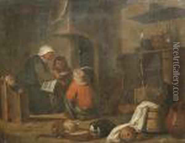 A Woman Reading A Book To Her Children In A Kitchen Oil Painting - David The Younger Teniers