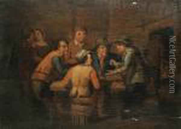 Men Playing Dice In An Interior Oil Painting - David The Younger Teniers