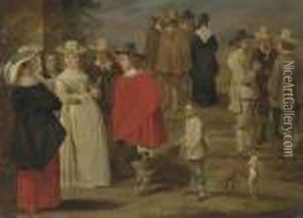 Figures Conversing In A Yard Oil Painting - David The Younger Teniers