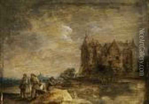 Landschaft Mit Mittelalterlichem Schlossgebaude Undfigurenstaffage Oil Painting - David The Younger Teniers