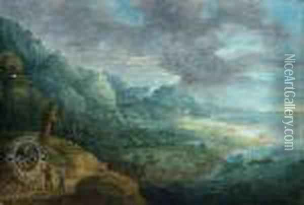 A Rocky Coast With Travellers Oil Painting - David The Younger Teniers