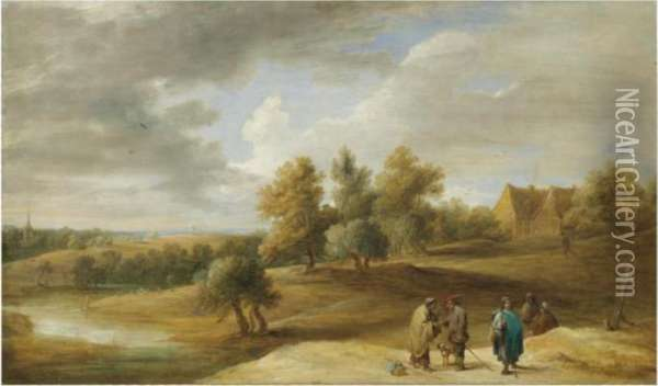 A Village Landscape With Gypsies Telling Fortunes In Theforeground Oil Painting - David The Younger Teniers