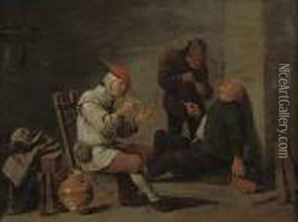 Peasants Smoking In An Interior Oil Painting - David The Younger Teniers